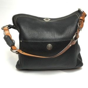Coach Black Leather Chelsea Turn Lock Shoulder Bag